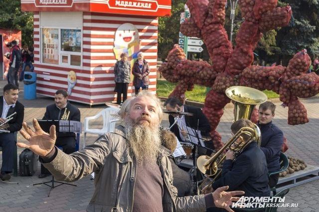 Вцентре Красноярска возникла картофельная «снежинка»