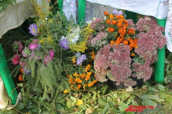Букеты осенних цветов были повсюду.