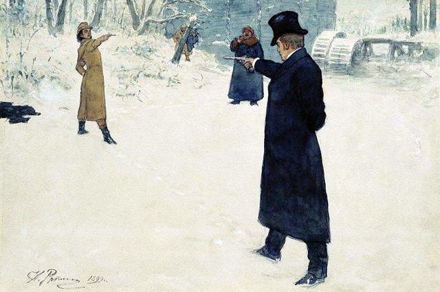 «Дуэль Онегина и Ленского», Илья Репин, 1899 г.