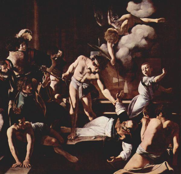 Затем было создано «Мученичество апостола Матфея» (1600). С помощью кьяроскуро художник концентрирует взгляд зрителя на фигуре убийцы и распростертом на полу апостоле. На заднем плане среди свидетелей Караваджо изобразил себя.