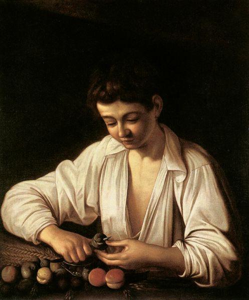 Первая дошедшая до нас картина Караваджо — «Мальчик, чистящий фрукт» (1593).