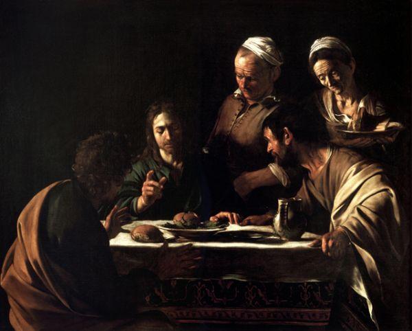 В 1606 году Караваджо был обвинен в убийстве и объявлен «вне закона», из-за чего был вынужден скрываться. Художник продолжил писать, однако его стиль стал мрачным. «Ужин в Эммаусе» (1606).