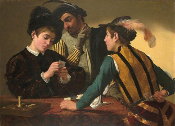 Первые многофигурные картины художник создал в 1594 году — это «Шулеры» и «Гадалка». В этих работах он выступает как смелый новатор, бросивший вызов главным художественным направлениям той эпохи — маньеризму и академизму, противопоставив им суровый реализм и демократизм своего искусства.