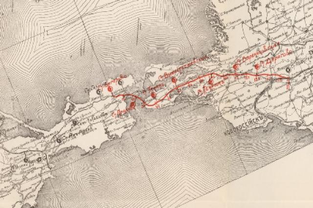 Схема жд линии Багерово – Абинская с переправой через Керченский пролив, 1911 год