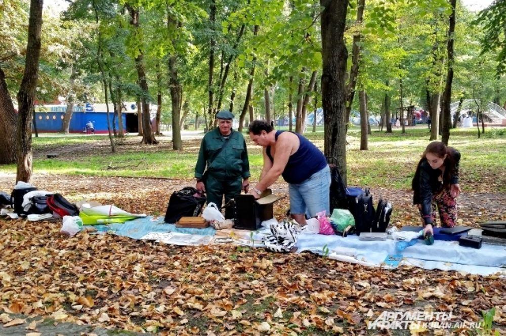 Ковер из листьев в Чистяковской роще служит «прилавком» для тех, кто приходит сюда продавать старые книги и другие раритеты.