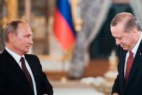 Владимир Путин и Реджеп Тайип Эрдоган во время совместного заявления для прессы по итогам встречи в Стамбуле.