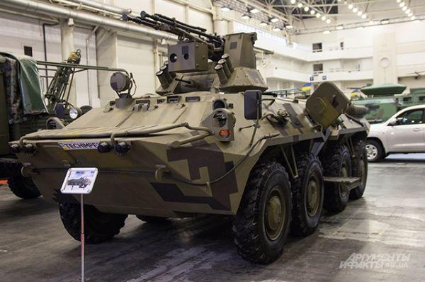 На одной из БМП была представлена новая башня БАУ 23-2 с дальностью стрельбы 2 км