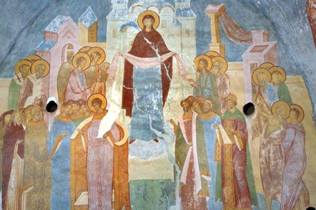 Покров Богоматери. Дионисий. Роспись собора Рождества Богородицы Ферапонтова монастыря, 1502 год.