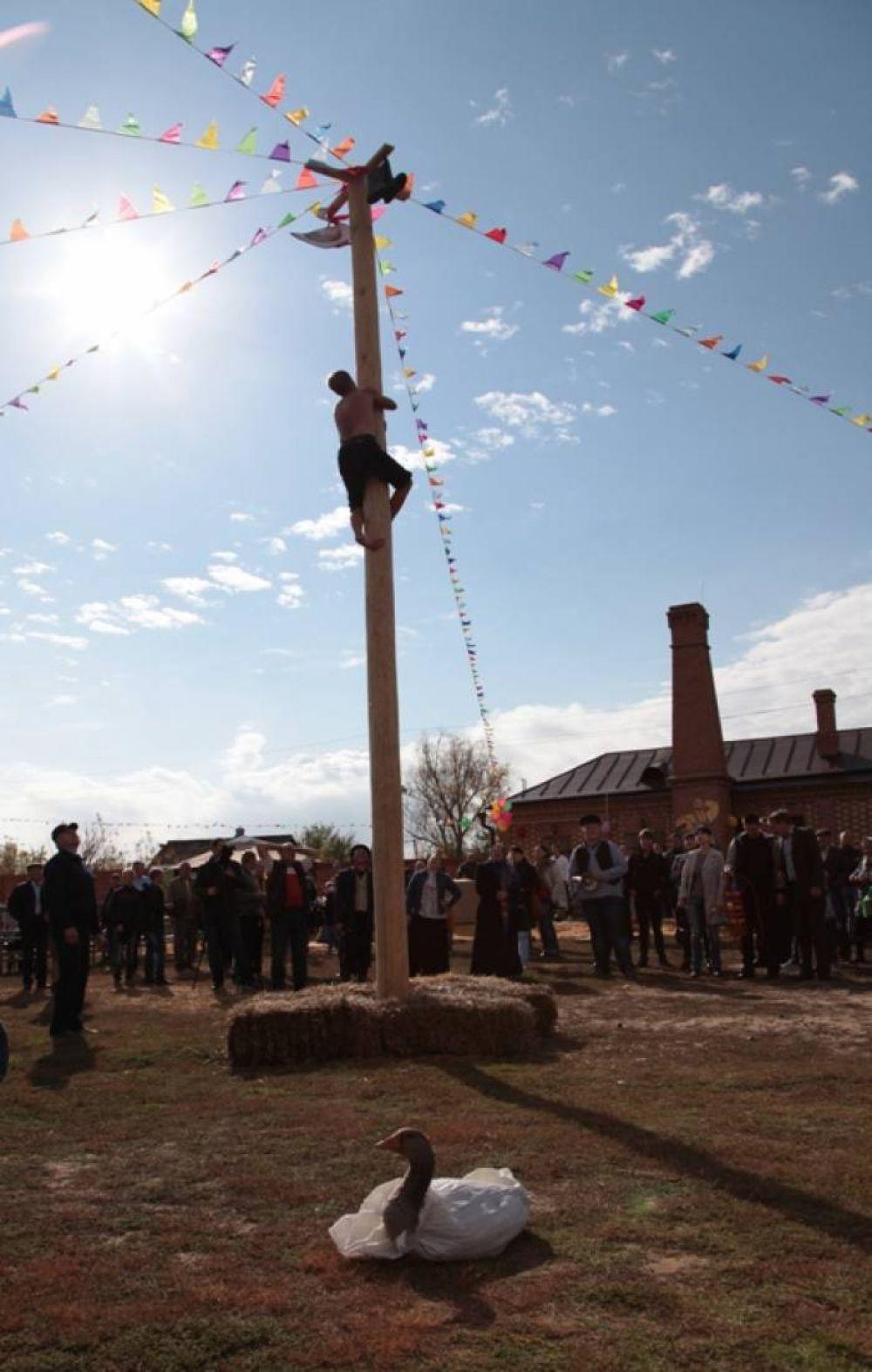 Смельчаки забирались на высокий гладкий столб, чтобы снять подвешенный на вершине приз.