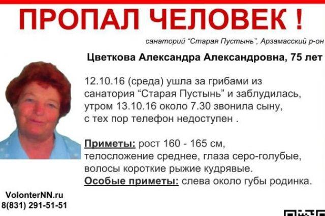 ВНижегородской области пропала 75-летняя Александра Цветкова