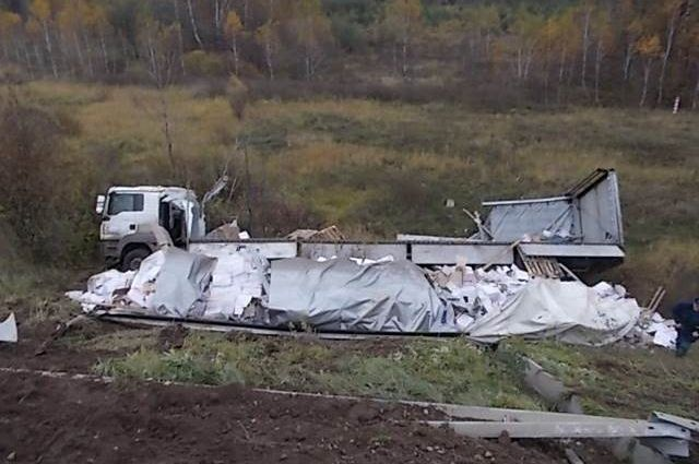 Натрассе М-2 «Крым» вТульской области перевернулась фура