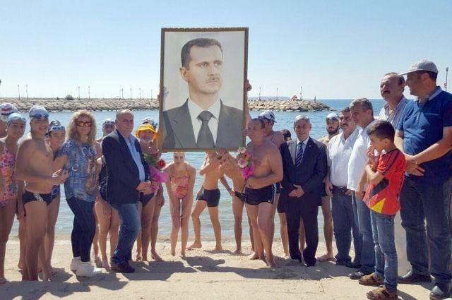 Марафонский заплыв россияне провели с сирийскими пловцами, среди которых были члены олимпийской сборной.