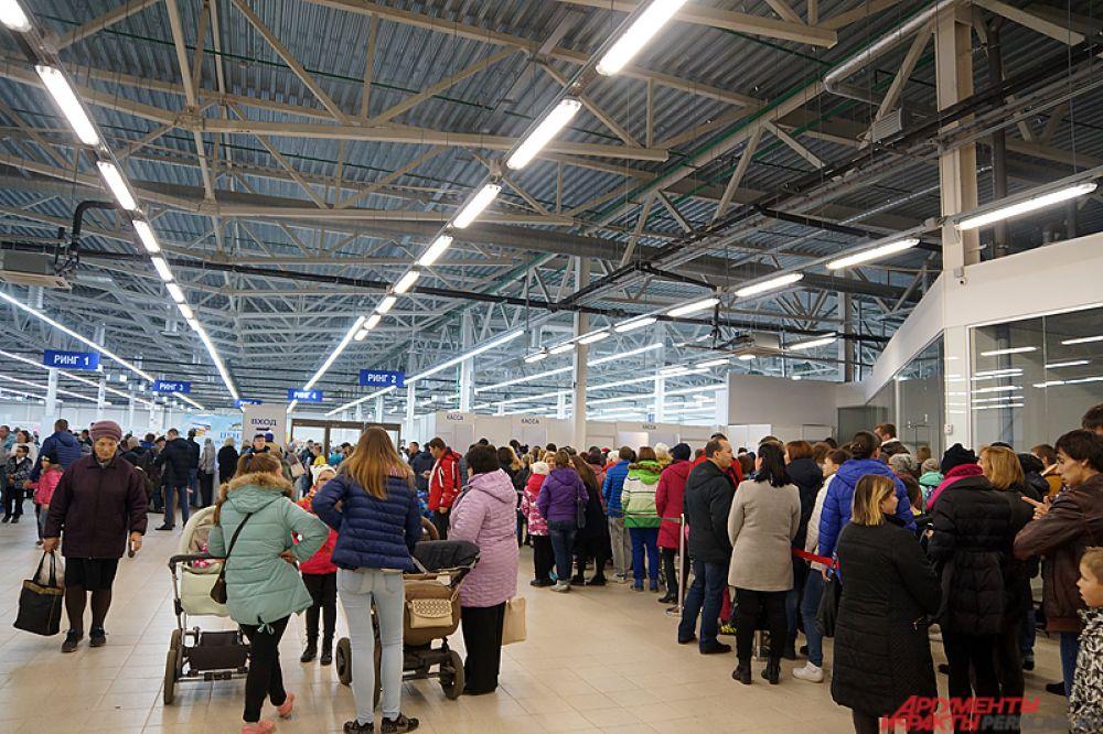 С самого утра очередь за билетами не уменьшалась, а ближе к полудню колонна желающих попасть на экспозицию растянулась на десятки метров.