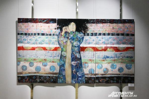 Если автор не использует настоящую ткань, он может имитировать лоскутное покрывало с помощью красок.