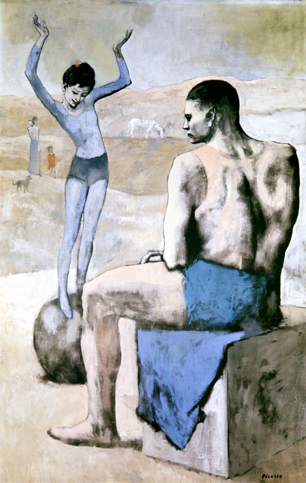 В 1904 году Пикассо поселился в Париже, где нашел пристанище в знаменитом монмартрском общежитии для бедных художников Бато-Лавуар: начинается так называемый «розовый период», в котором печаль и нищета «голубого периода» сменилась образами из более живого мира театра и цирка. «Девочка на шаре», 1905 год.