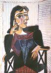 Ужас, охвативший Пикассо перед угрозой варварства, нависшего над Европой, страх перед войной и фашизмом, художник выразил в творчестве, придав своим картинам тревожную тональность и мрачность. «Портрет Доры Маар», 1937 год.