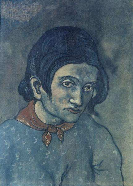В начале 1902 года Пикассо стал писать в стиле, по которому впоследствии период творчества художника был назван «голубым». В работах этого времени ярко выражены темы старости и смерти, характерны образы нищеты, меланхолии и печали. «Портрет молодой женщины», 1903 год.