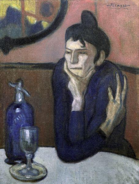 В 1900 году Пикассо со своим другом, художником Касахемасом уехал в Париж, где познакомился с творчеством импрессионистов. «Любительница абсента», 1901 год.