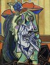 Женщины вновь стали главными жертвами этого общего мрачного настроения. Среди них —Дора Маар, с которой художник сблизился в 1936 году и красивое лицо которой он деформировал и искажал гримасами. «Плачущая женщина (Дора Маар)», 1937 год.