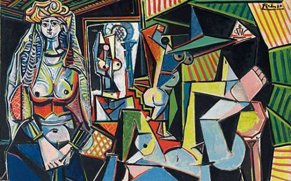Послевоенное творчество Пикассо можно назвать счастливым; он сближается с Франсуазой Жило, которая родит ему двоих детей, дав таким образом темы его многочисленных семейных картин. Он уезжает из Парижа на юг Франции, открывает для себя радость солнца, пляжа, моря. «Алжирские женщины», 1955 год.