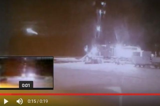 На видео попал падающий метеорит.