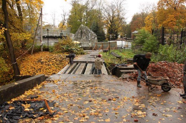Один из мостов в Калининградском зоопарке закрыли на реконструкцию.