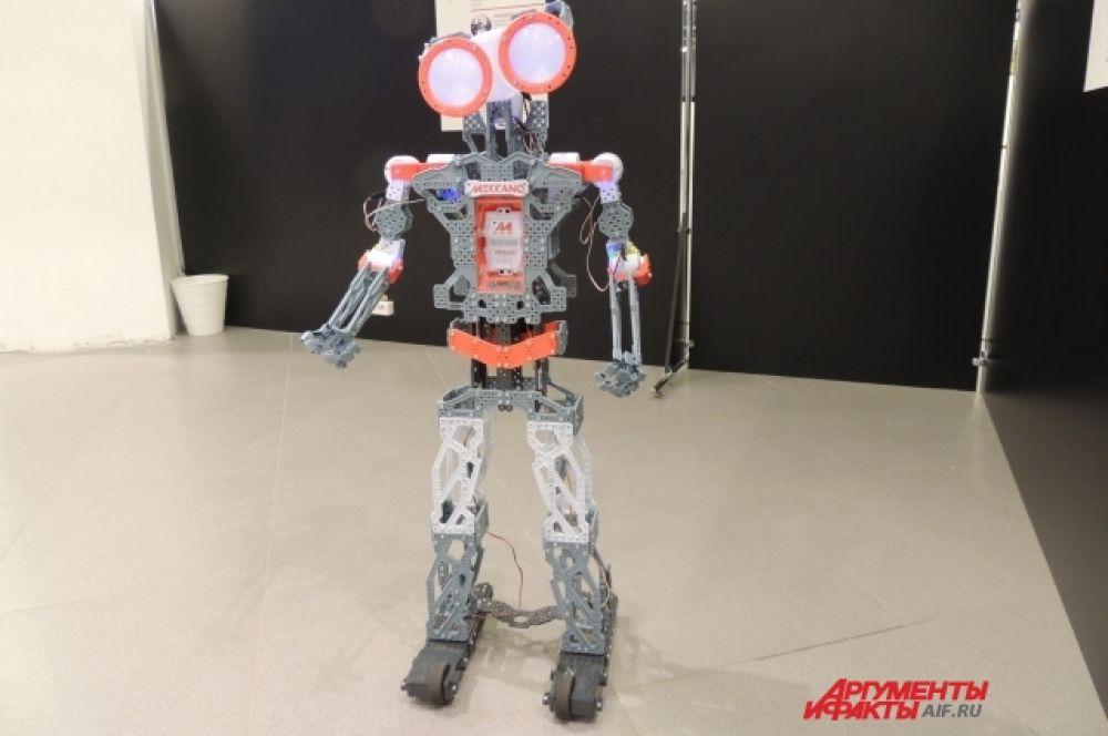 Собранный из конструктора робот.