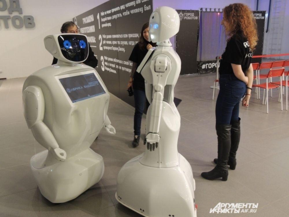 Робот Алантим и Кики общаются друг с другом.