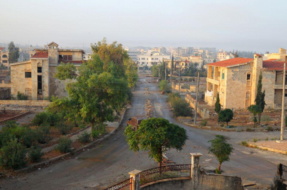 Общий вид города после того, как боевики взяли его под свой контроль.