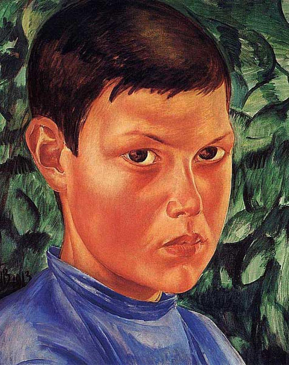 «Портрет мальчика», 1913 год. Искусствоведы считают, что глубина мальчишечьих карих глаз говорит о доброте подростка. Он готов принять всё, что его ожидает в будущем. Он готов к этому. После написания этого шедевра Петров-Водкин не раз еще изобразит на своих полотнах милых ласковых детишек от мала до велика.