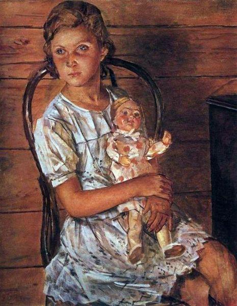 «Девочка с куклой». Это портрет Татьяны Пилецкой, будущей знаменитой актрисы. Художник был вдохновлен природной грацией маленькой девочки и писал картину быстро.
