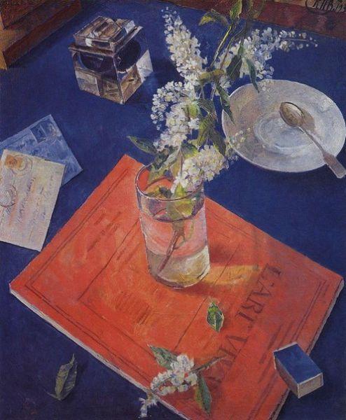 «Черемуха в стакане». Одна из наиболее известных работ советского живописца К. С. Петрова-Водкина, выполненных в жанре натюрморта и относящихся к периоду 1930-х годов.