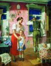 «1919 год. Тревога», 1934. На картине изображено малоимущее, нуждающееся семейство, в которой подрастают маленькие дети. В каждом предмете интерьера комнаты невооруженном глазом можно заметить исключительную бедность этих людей. Само название картины говорит нам о том, какой сейчас год. Время Гражданской братоубийственной войны, повсеместного человеческого страдания, горя, лишения всех средств к спокойной, нормальной жизни.