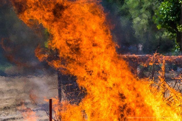 Ночью вОмске загорелась маршрутка, пламя отнее перекинулось на дом