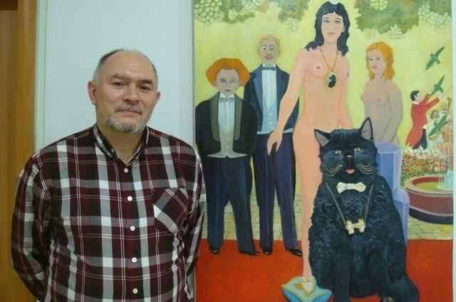 Случается, что прямо во время экскурсии Леонид Грушин берёт в руку кисть, подходит к выставленной картине и что–нибудь дорисовывает.