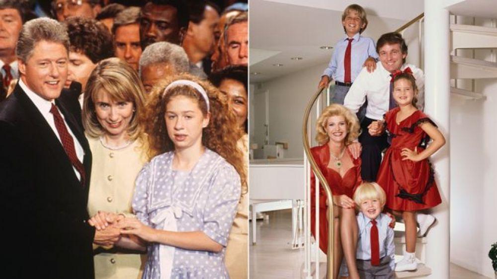 На этом фото семейства Клинтонов и Трампов в 80-х годах. Хиллари была тогда на съезде Демократической партии