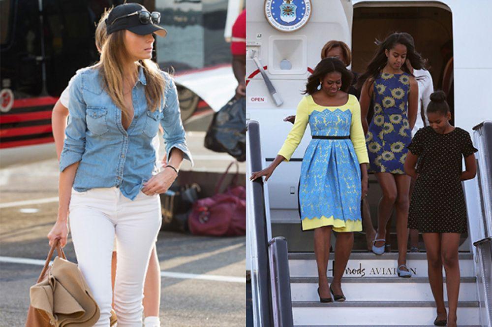 Будущая первая леди может одеваться по простому, но Мишель все таки больше старается разнообразить свои появления на публику