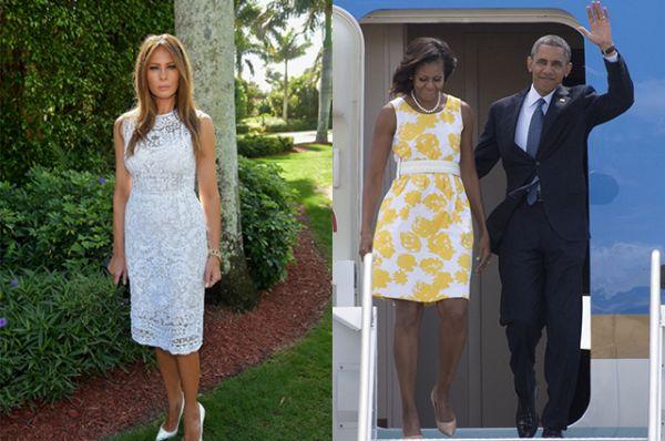 Заметно также и то, что жена Трампа предпочитает одеваться в белое, а вот супруга Обамы если и одевает белое, то старается носить его в сочетании с другими цветами
