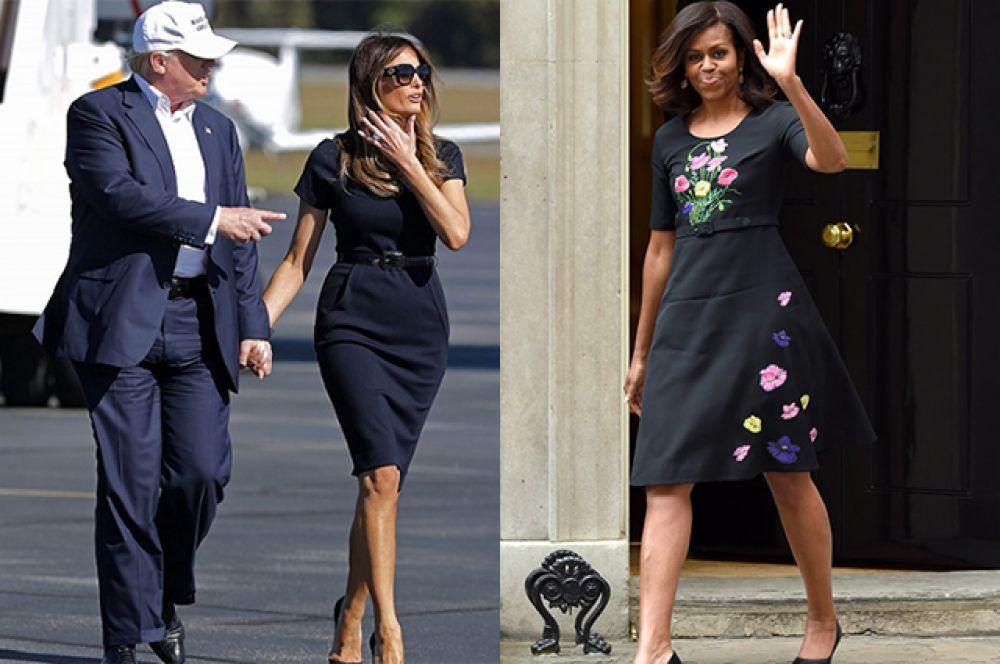 И если у супруги Трампа платье более классическое, то у жены Обамы такой цвет платья еще и сопровождается красочными принтами