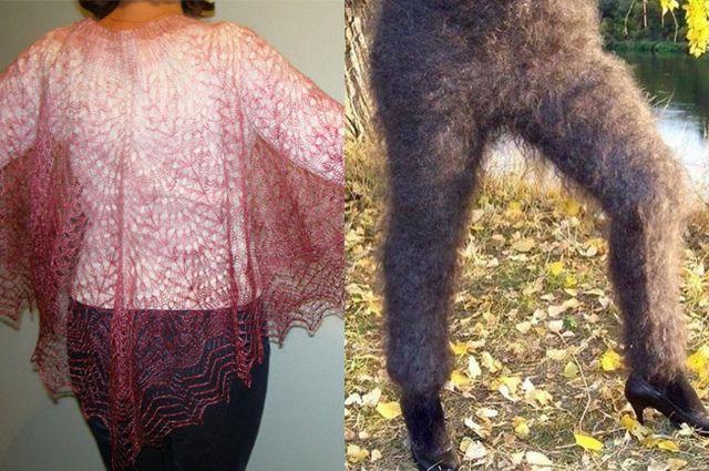 Слева - оренбургская паутинка, справа - пуховые лосины неизвестного происхождения.
