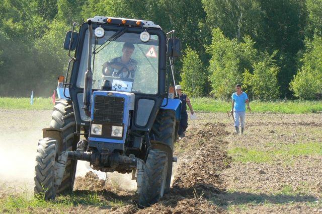 Трактор возделывает землю