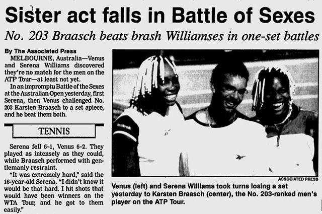 Сестры Уильямс и Карстен Брааш. 1998 г.