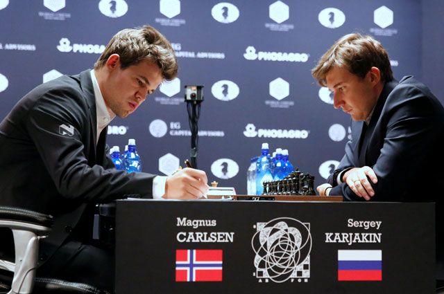 Магнус Карлсен и Сергей Карякин.