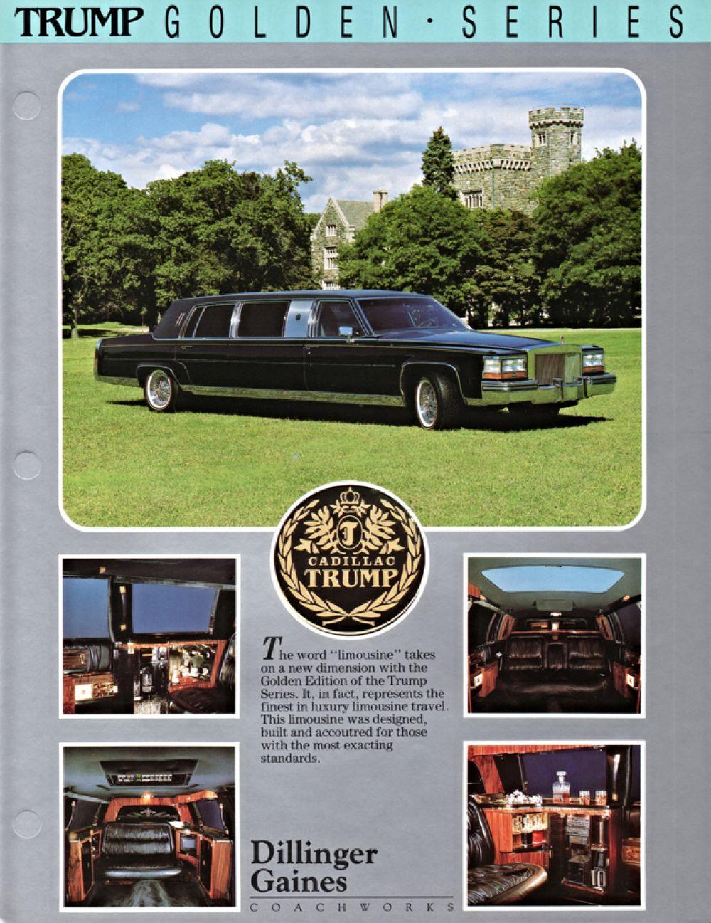 Трамп также известен своей симпатией к марке Cadillac. В конце 1980-х годов в честь него была даже создана специальная серия автомобилей Trump Golden Series.