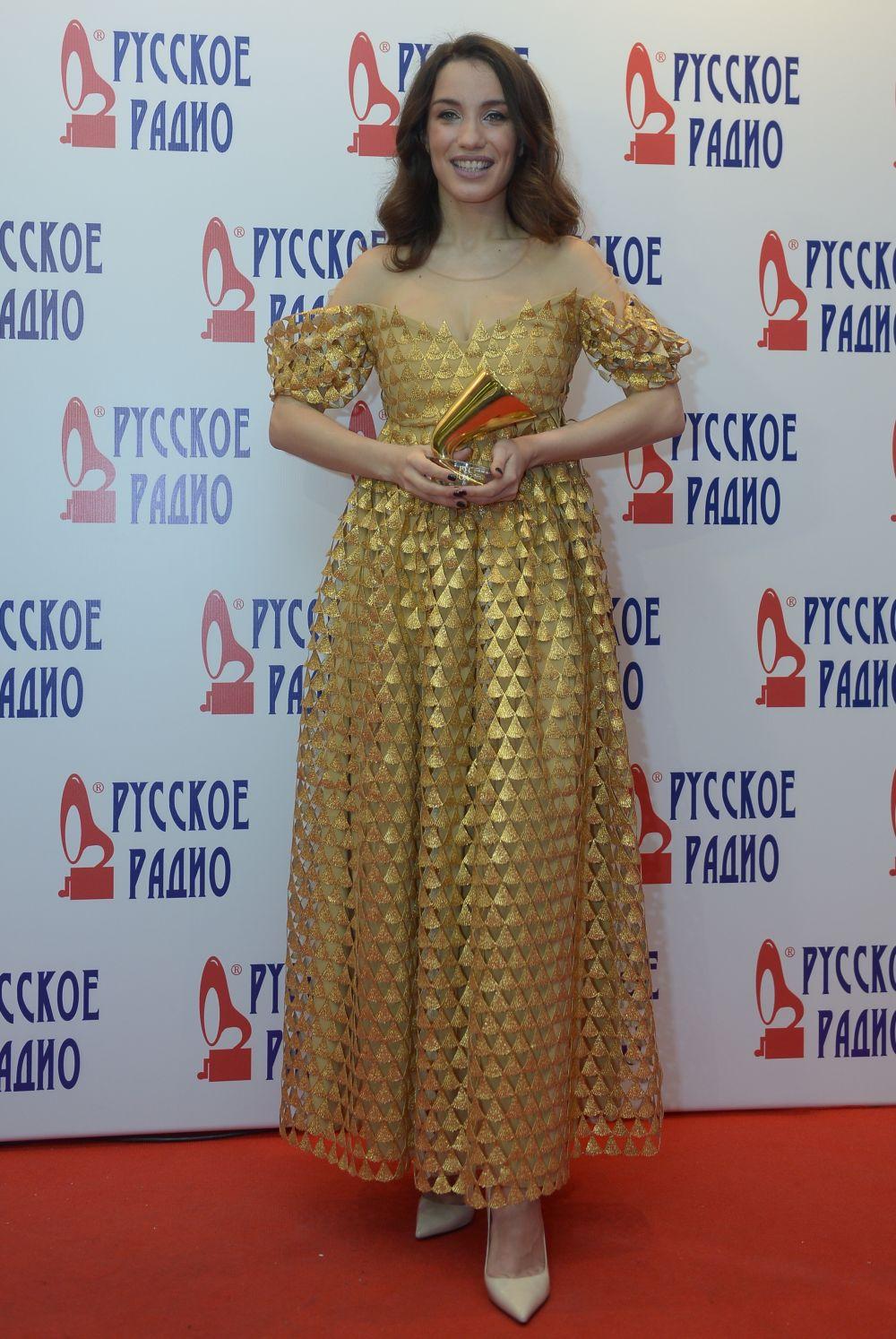 Певица Виктория Дайнеко наXXI Церемонии вручения национальной музыкальной премии «Золотой граммофон» вСК«Олимпийский» вМоскве.