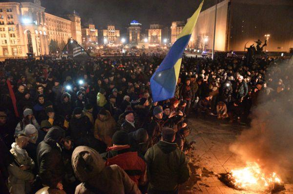 Участники акции в Киеве, посвященной годовщине начала событий на Майдане.