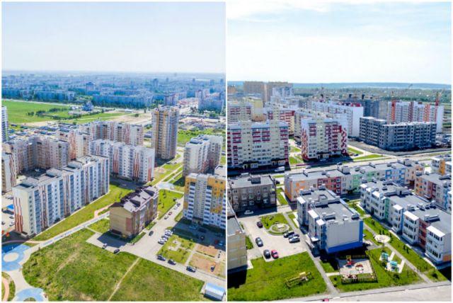 Слева: микрорайон «Центральный» в Заволжском районе; справа: микрорайон «Юго-Западный» в Засвияжском районе.