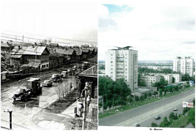 Улица Минаева до ленинской стройки (60-е годы) и после.