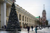 Новогодняя елка у Гостиного двора в Санкт-Петербурге.