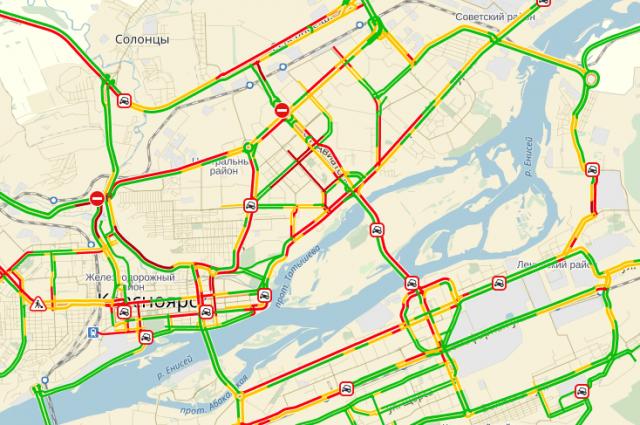 Половина дорог в городе выкрашены красным цветом.